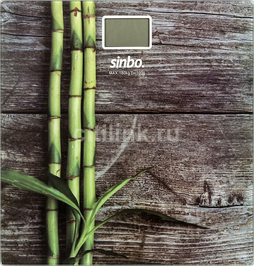 Напольные весы SINBO SBS 4449B, до 180кг, цвет: рисунок/дерево