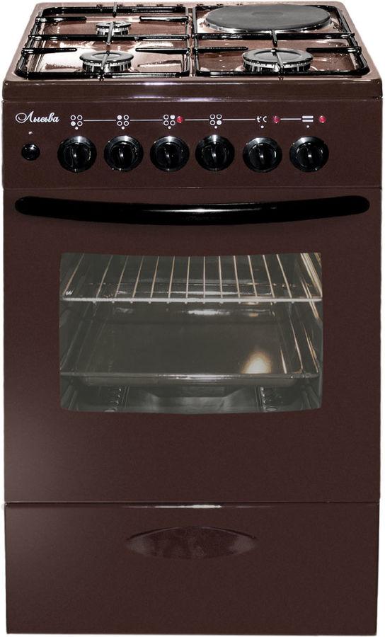 Газовая плита ЛЫСЬВА ЭГ 1/3г14 МС-2у,  электрическая духовка,  коричневый