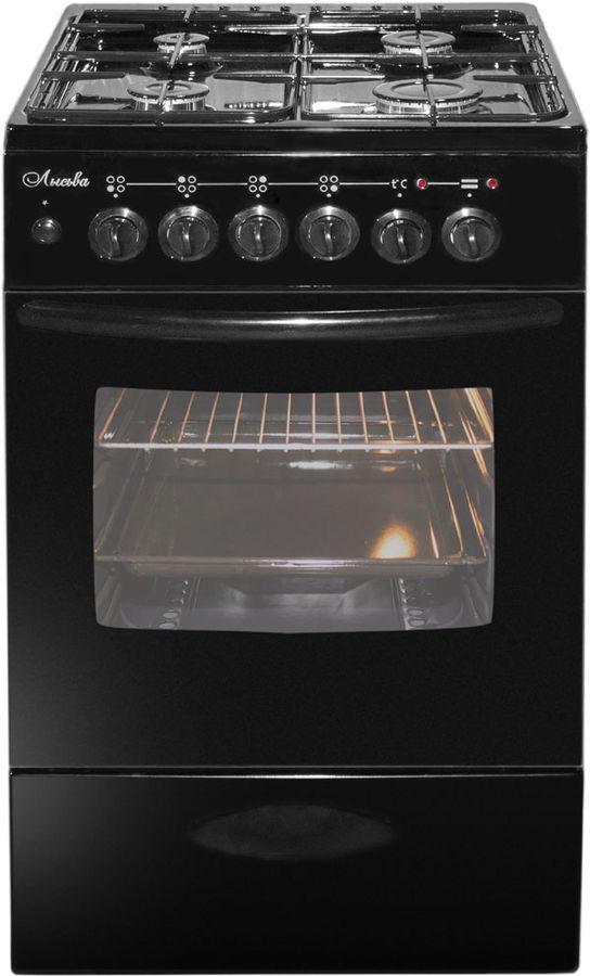 Газовая плита ЛЫСЬВА ЭГ 404 МС-2у,  электрическая духовка,  черный