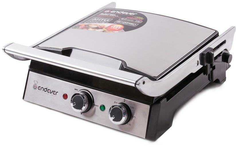 Электрогриль ENDEVER Grillmaster 230,  серебристый и черный [80371]