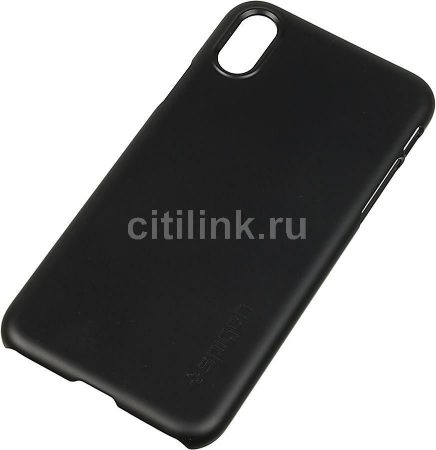 Чехол (клип-кейс)  Spigen Thin Fit, для Apple iPhone X, черный (матовый) [057cs22108]