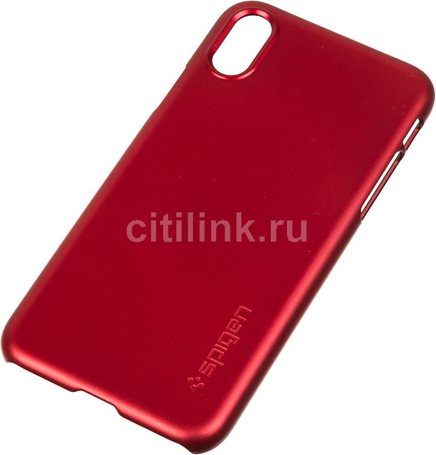 Чехол (клип-кейс)  Spigen Thin Fit, для Apple iPhone X, красный [057cs22109]
