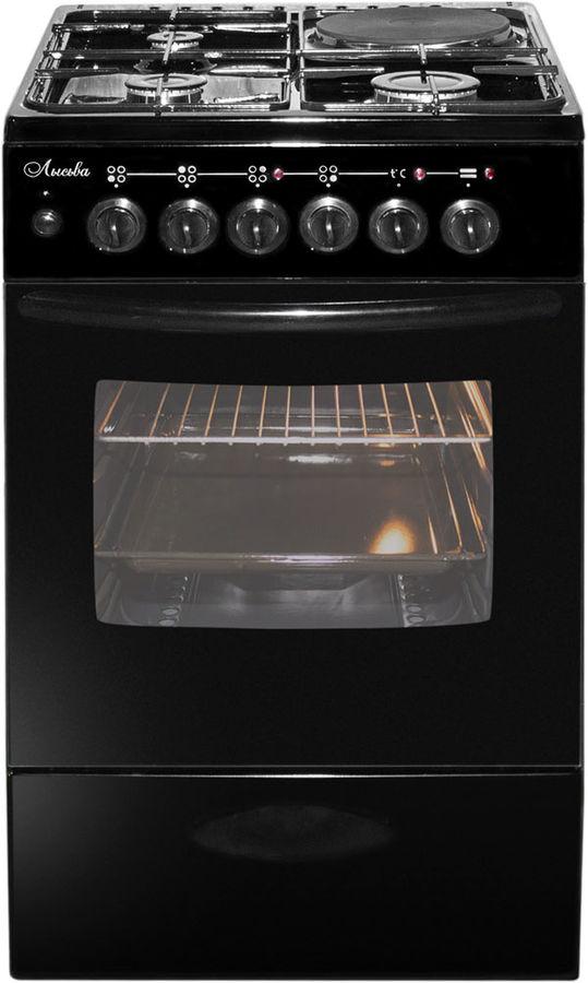 Газовая плита ЛЫСЬВА ЭГ 1/3г01 МС-2у,  электрическая духовка,  черный