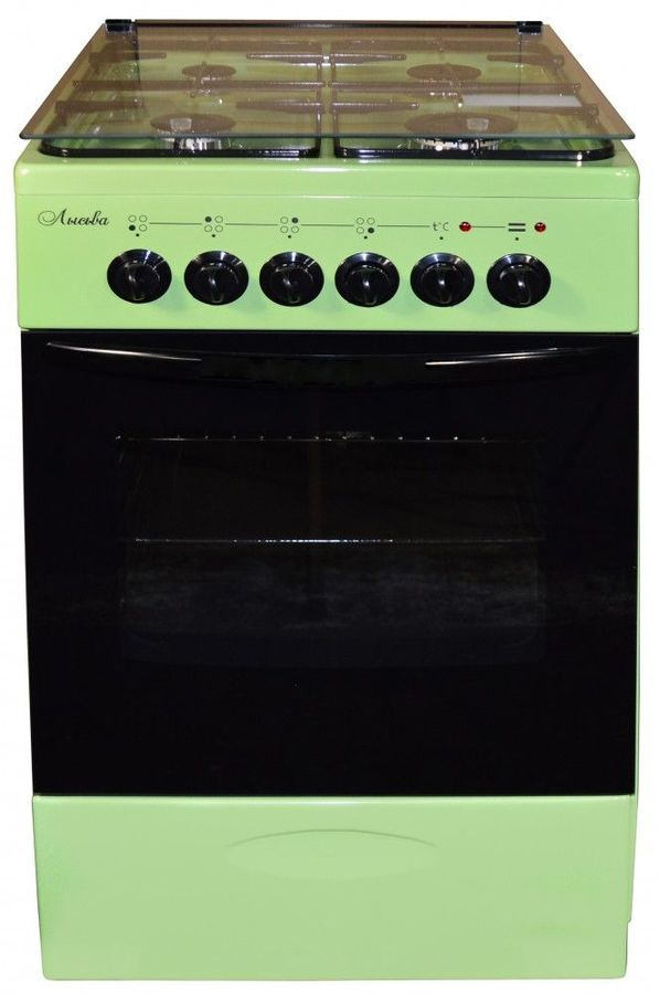 Газовая плита ЛЫСЬВА ЭГ 401 МС-2у,  электрическая духовка,  зеленый