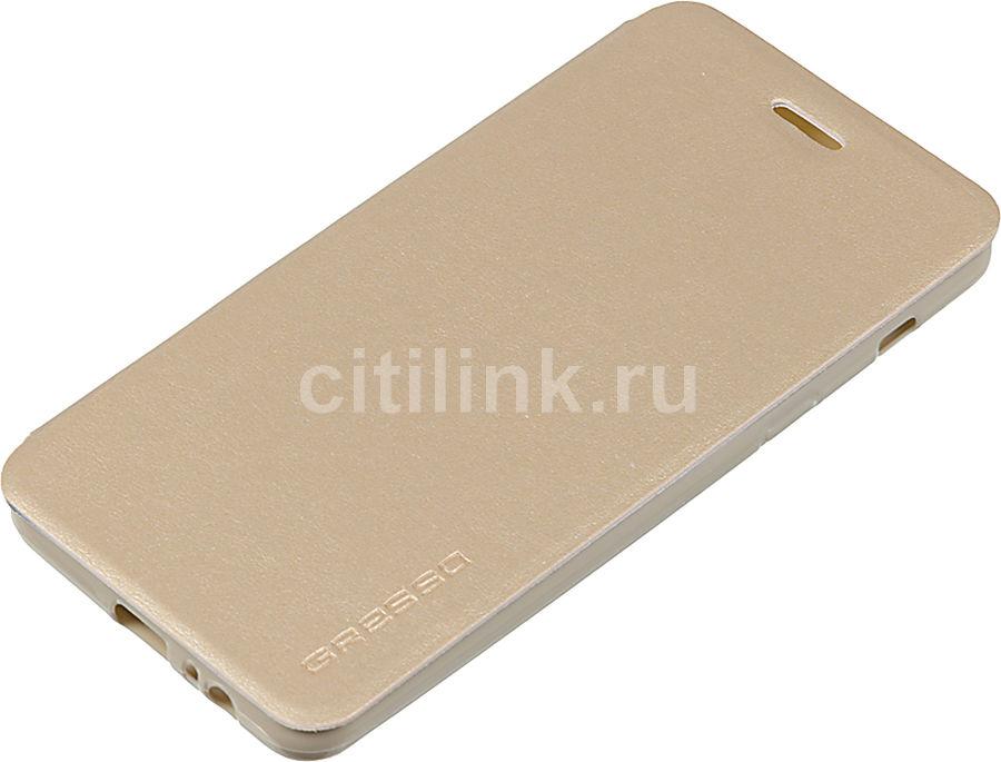 Чехол (флип-кейс)  Gresso Atlant, для Samsung Galaxy A8, золотистый [gr15atl076]