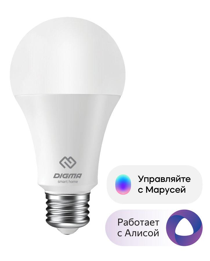 Умная лампа Digma DiLight E27 W1 E27 8Вт 850lm Wi-Fi