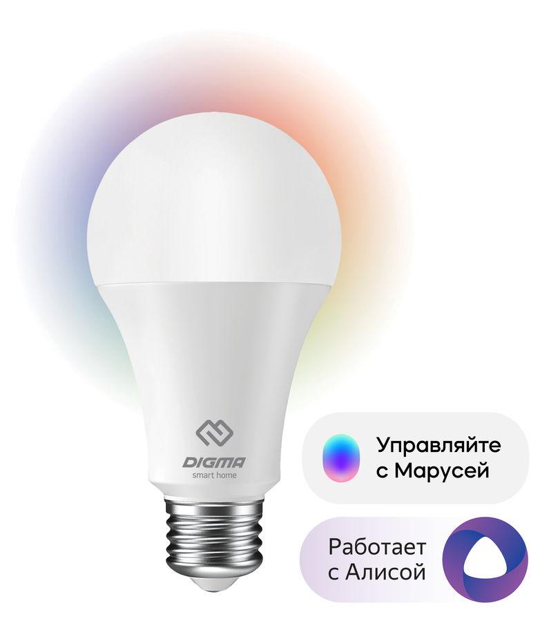Умная лампа Digma DiLight E27 N1 RGB E27 8Вт 800lm Wi-Fi