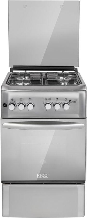 Газовая плита RICCI RGC5003IX,  газовая духовка,  нержавеющая сталь