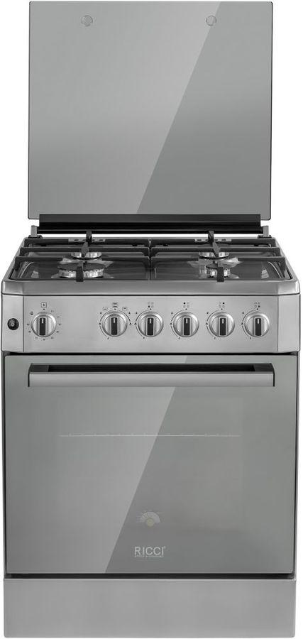 Газовая плита RICCI RGC6001IX,  газовая духовка,  нержавеющая сталь