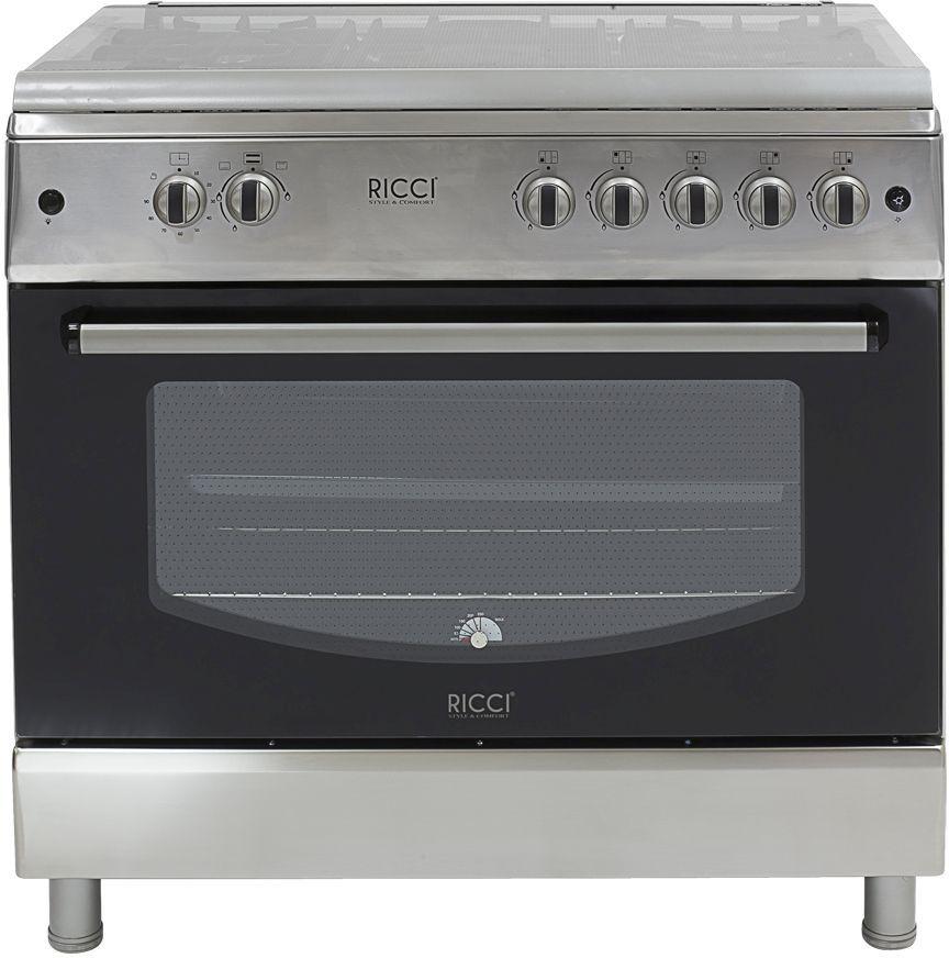 Газовая плита RICCI RGC-9010IX,  газовая духовка,  нержавеющая сталь