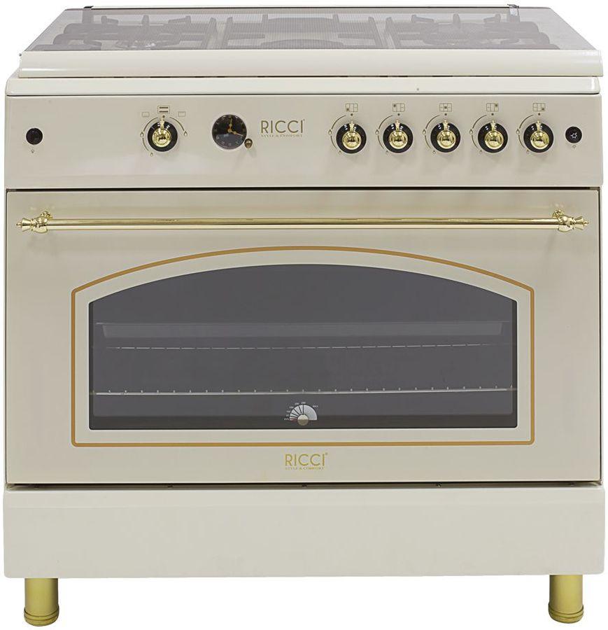Газовая плита RICCI RGC 9030BG,  газовая духовка,  бежевый