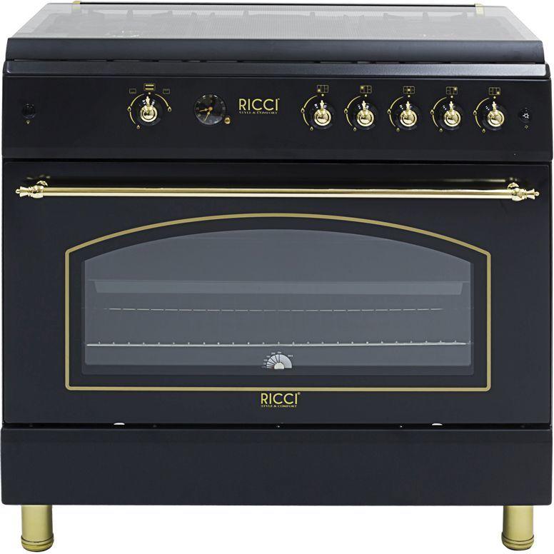Газовая плита RICCI RGC 9030BL,  газовая духовка,  черный