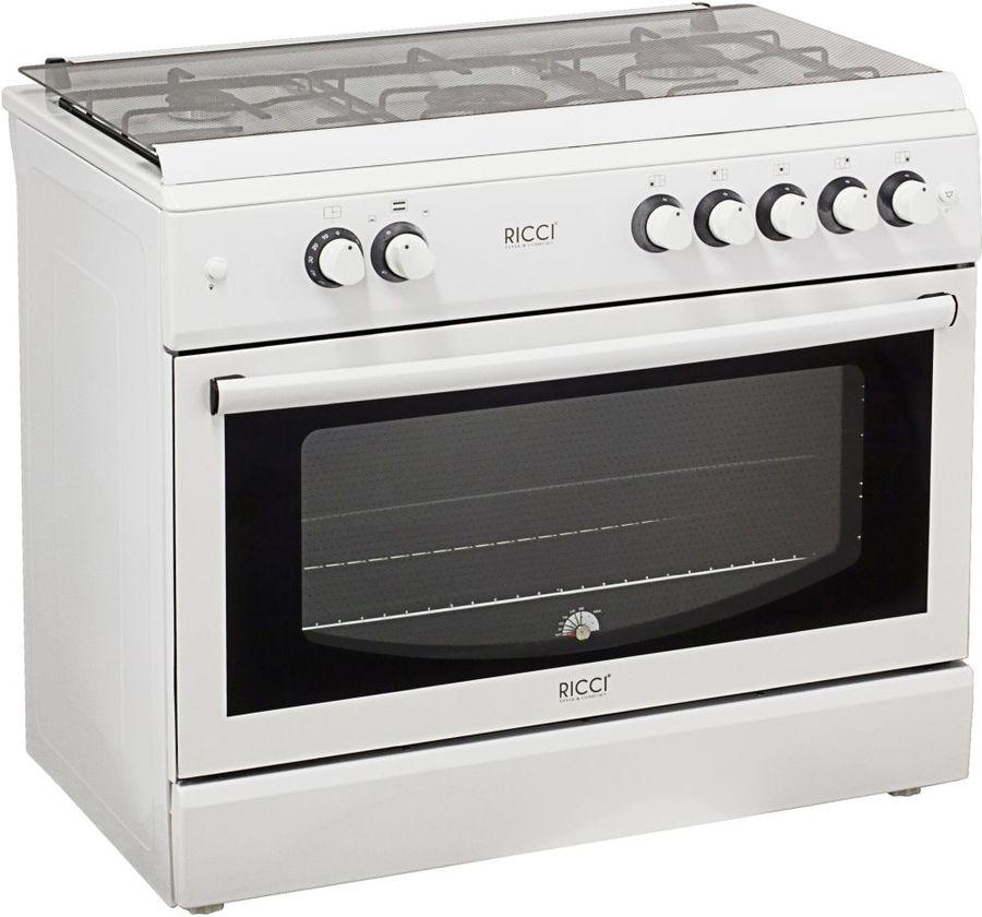 Газовая плита RICCI RGC 9000WH,  газовая духовка,  белый