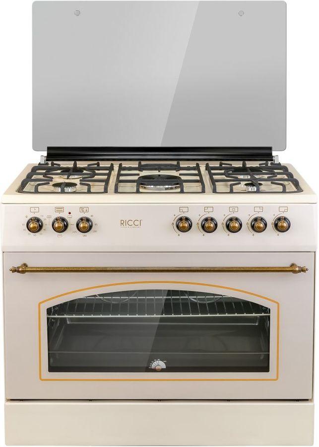 Газовая плита RICCI RKC9002BG,  электрическая духовка,  бежевый