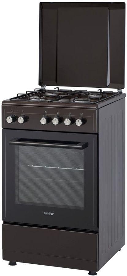 Газовая плита SIMFER F55ED43017,  электрическая духовка,  коричневый