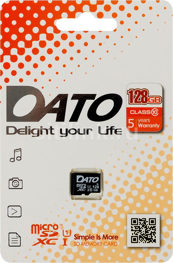 Карта памяти microSDXC UHS-I U1 DATO 128 ГБ, 80 МБ/с, Class 10, DTTF128GUIC10,  1 шт.