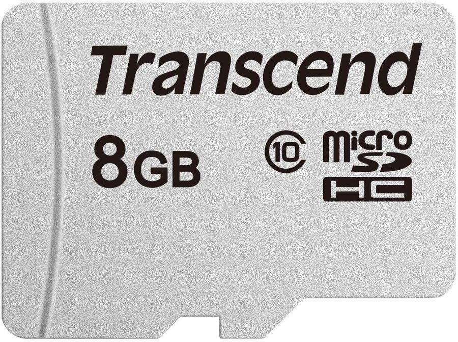 Карта памяти microSDHC TRANSCEND 8 ГБ, 20 МБ/с, Class 10, TS8GUSD300S,  1 шт.