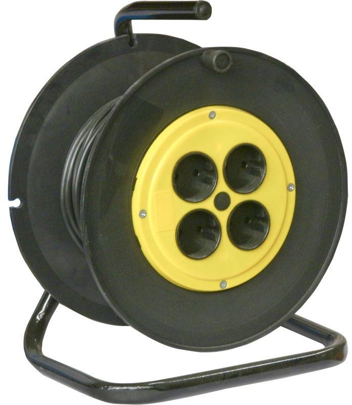 Удлинитель силовой Калибр УСК2-4-25 (217125) 2x2.5кв.мм 4розет. 25м ПВС 20A катушка черный