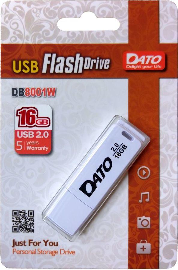 Флешка USB DATO DB8001 16Гб, USB2.0, белый [db8001w-16g]