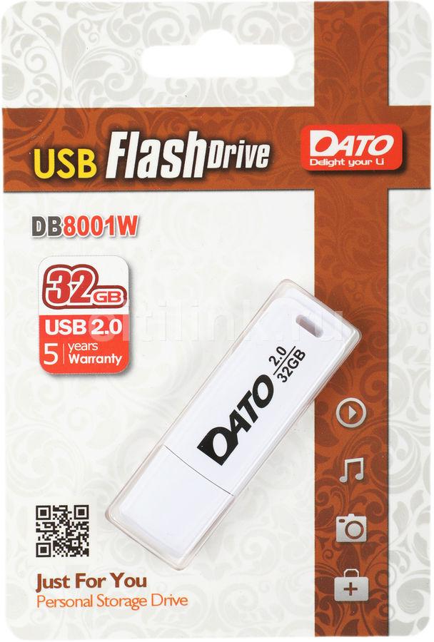 Флешка USB DATO DB8001 32Гб, USB2.0, белый [db8001w-32g]