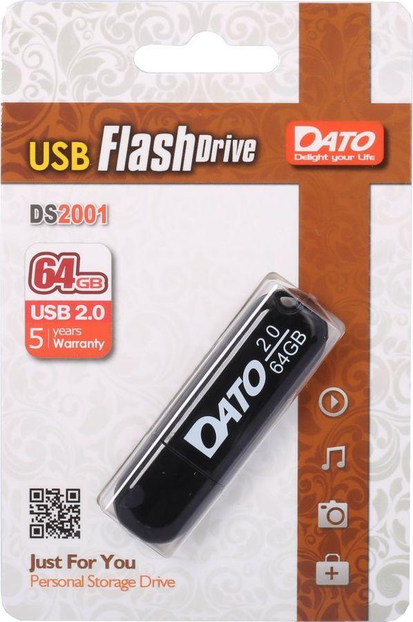 Флешка USB DATO DS2001 64Гб, USB2.0, черный [ds2001-64g]