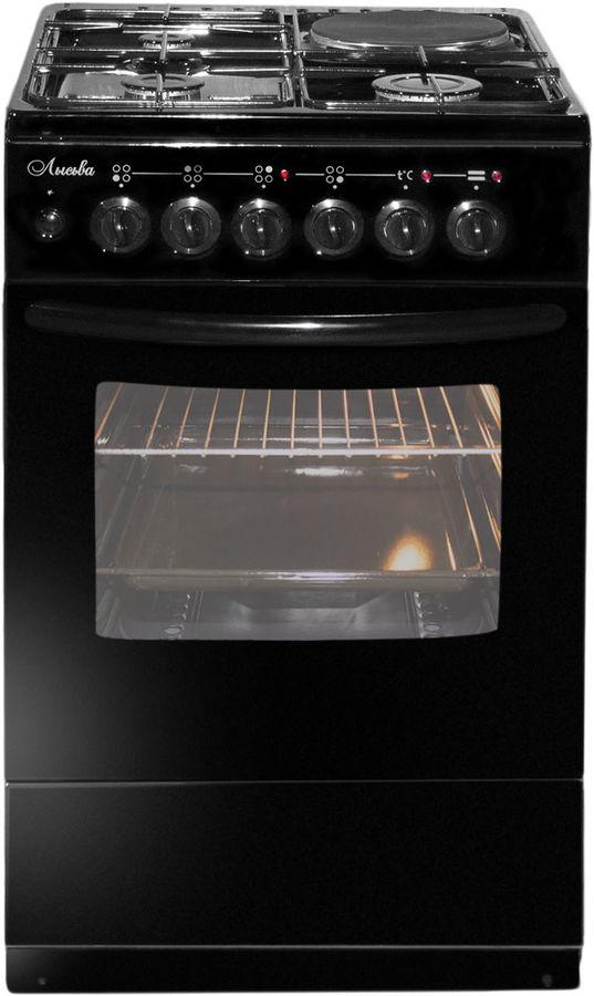 Газовая плита ЛЫСЬВА ЭГ 1/3г01 М2С-2у,  электрическая духовка,  черный