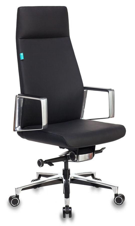 Кресло руководителя Бюрократ _JONS/BLACK черный кожа крестовина алюминий (плохая упаковка)