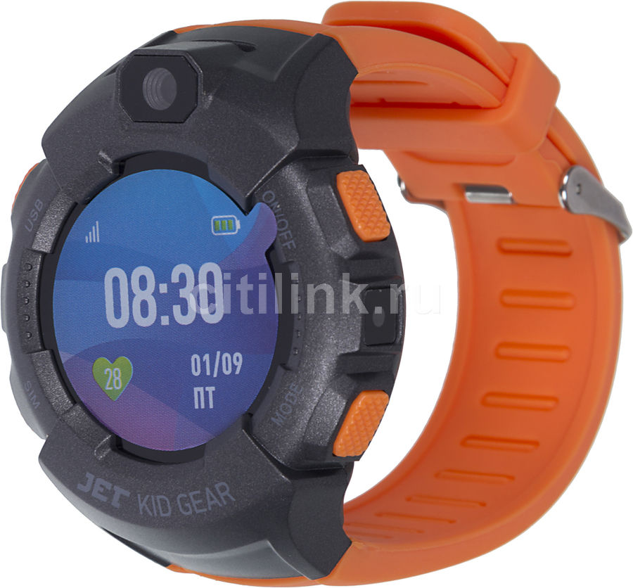 "Смарт-часы JET Kid Gear,  50мм,  1.44"",  серый / оранжевый [gear orange+grey]"