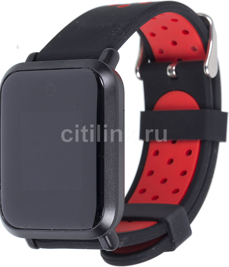 """Смарт-часы JET Sport SW-4,  46мм,  0.96"""",  черный / красный [sw-4 red]"""
