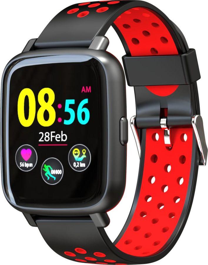 """Смарт-часы JET Sport SW-5,  52мм,  1.44"""",  черный / красный [sw-5 red]"""