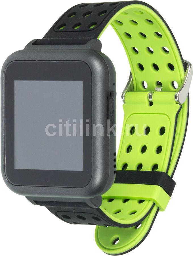 """Смарт-часы KREZ Roze,  40мм,  1.54"""",  черный / черный/зеленый [sw17]"""