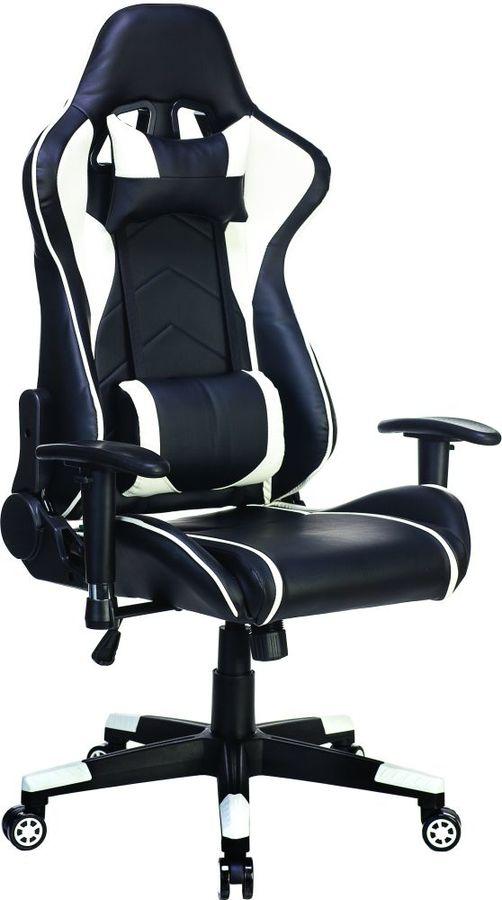 Кресло игровое БЮРОКРАТ СН-787, на колесиках, искусственная кожа, черный/белый [сн-787/bl+wh]
