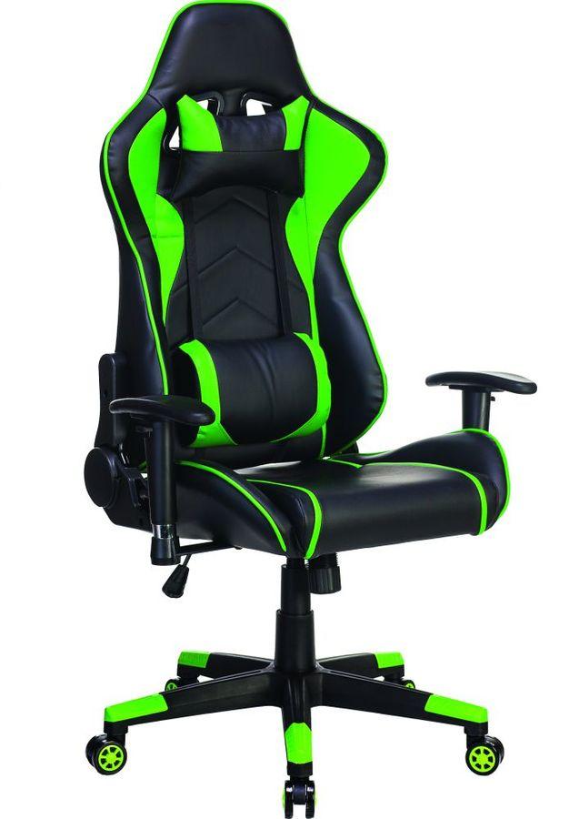 Кресло игровое БЮРОКРАТ СН-787, на колесиках, искусственная кожа, черный/зеленый [сн-787/bl+gr]