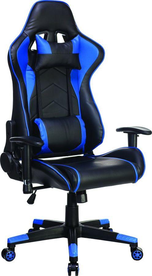 Кресло игровое БЮРОКРАТ СН-787, на колесиках, искусственная кожа, черный/синий [сн-787/bl+blue]