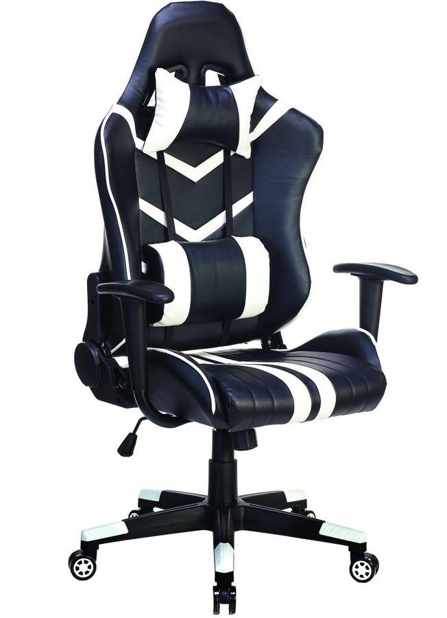 Кресло игровое БЮРОКРАТ СН-789, на колесиках, искусственная кожа, черный/белый [сн-789/bl+wh]