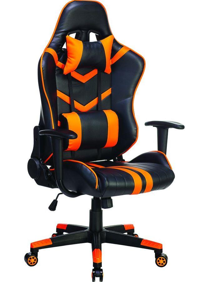 Кресло игровое БЮРОКРАТ СН-789, на колесиках, искусственная кожа, черный/оранжевый [сн-789/bl+or]