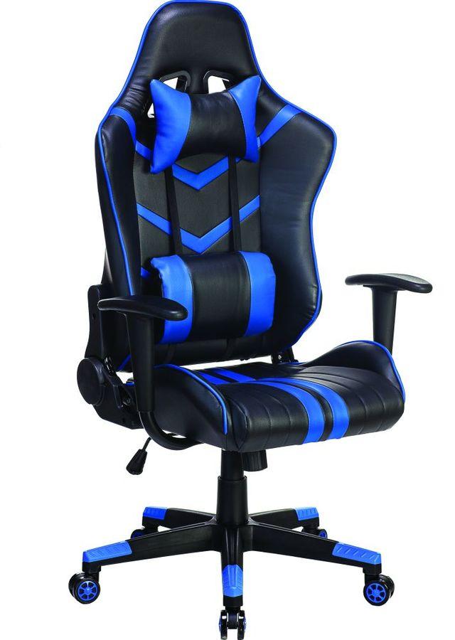 Кресло игровое БЮРОКРАТ СН-789, на колесиках, искусственная кожа, черный/синий [сн-789/bl+blue]