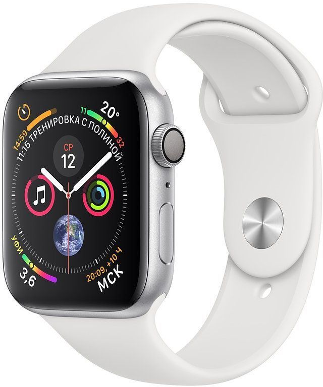 Смарт-часы APPLE Watch Series 4 44мм,  серебристый / белый [mu6a2/a]