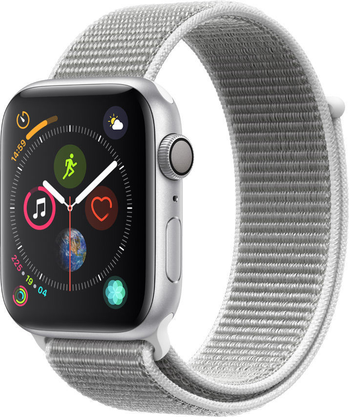 Смарт-часы APPLE Watch Series 4 44мм,  серебристый / белый [mu6c2/a]