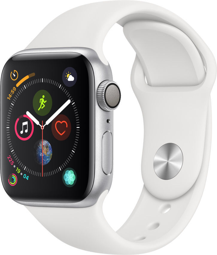 Смарт-часы APPLE Watch Series 4 40мм,  серебристый / белый [mu642/a]