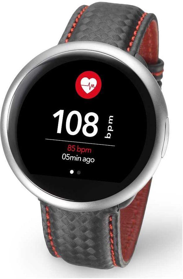 "Смарт-часы MYKRONOZ ZeRound2HR Premium,  12.8мм,  1.22"",  серебристый / черный/красный [krzeround2hr-silv]"
