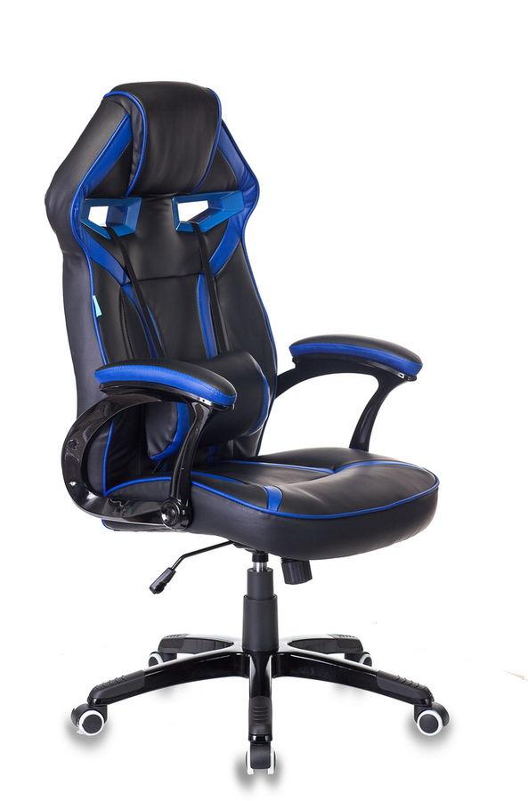 Кресло игровое БЮРОКРАТ СН-790, на колесиках, искусственная кожа/сетка [сн-790/bl+blue]