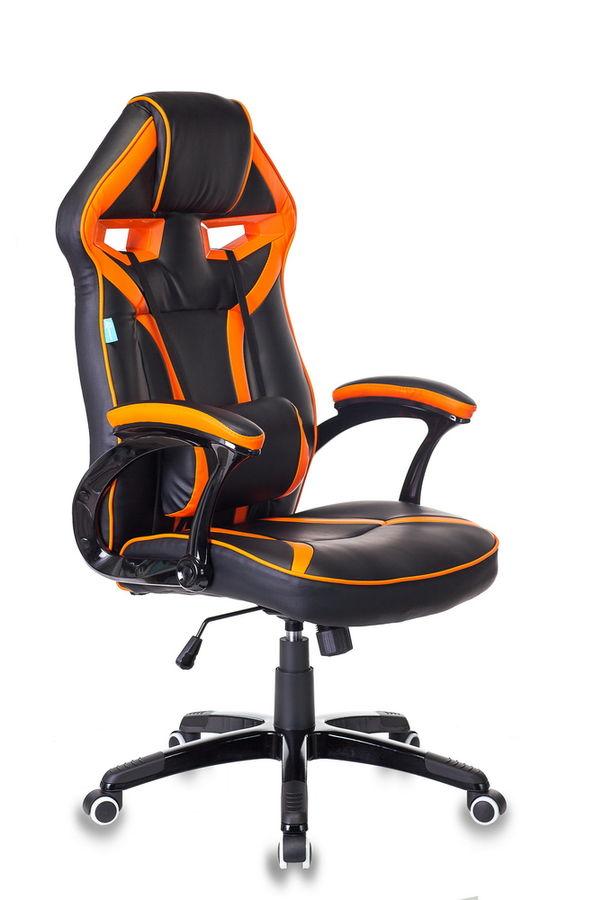 Кресло игровое БЮРОКРАТ СН-790, на колесиках, искусственная кожа/сетка [сн-790/bl+or]