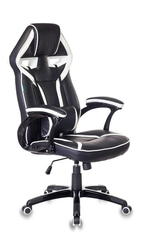Кресло игровое БЮРОКРАТ СН-790, на колесиках, искусственная кожа/сетка [сн-790/bl+wh]