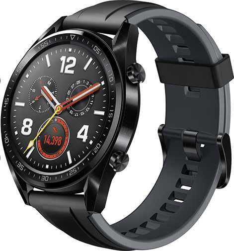 "Смарт-часы HUAWEI Watch GT Sport FTN-B19,  46.5мм,  1.4"",  серый / черный [55023251]"