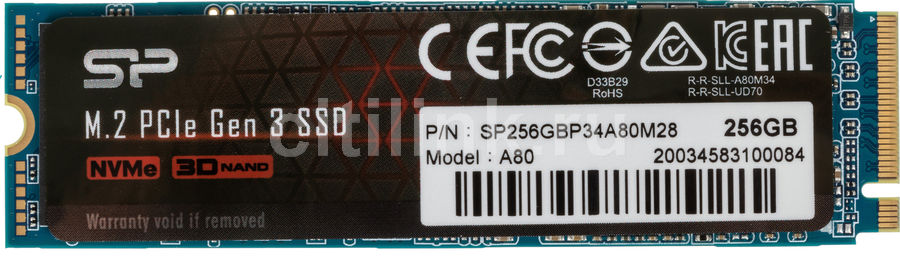 SSD накопитель SILICON POWER M-Series SP256GBP34A80M28 256Гб, M.2 2280, PCI-E x4,  NVMe