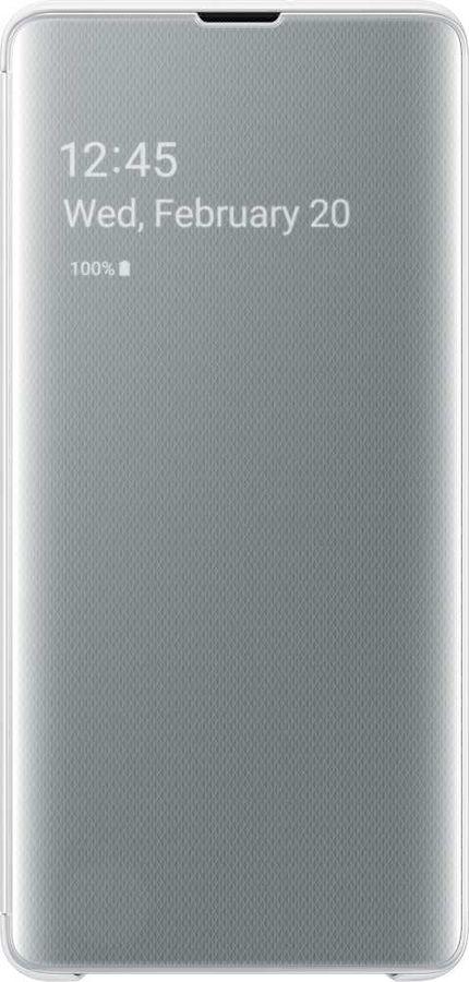 Чехол (флип-кейс) SAMSUNG Clear View Cover, для Samsung Galaxy S10+, белый [ef-zg975cwegru]