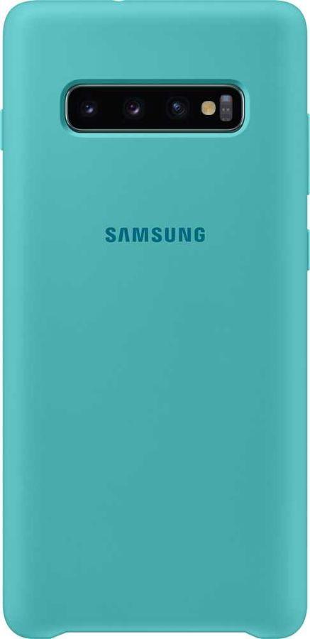 Чехол (клип-кейс) SAMSUNG Silicone Cover, для Samsung Galaxy S10+, зеленый [ef-pg975tgegru]