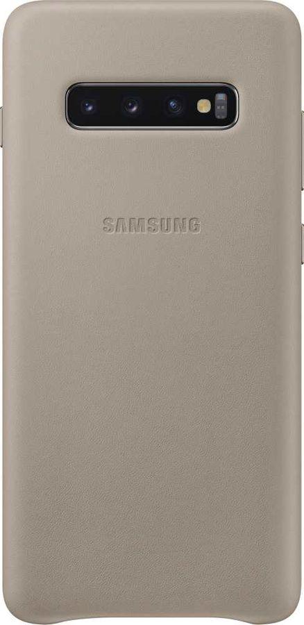 Чехол (клип-кейс) SAMSUNG Leather Cover, для Samsung Galaxy S10+, серый [ef-vg975ljegru]