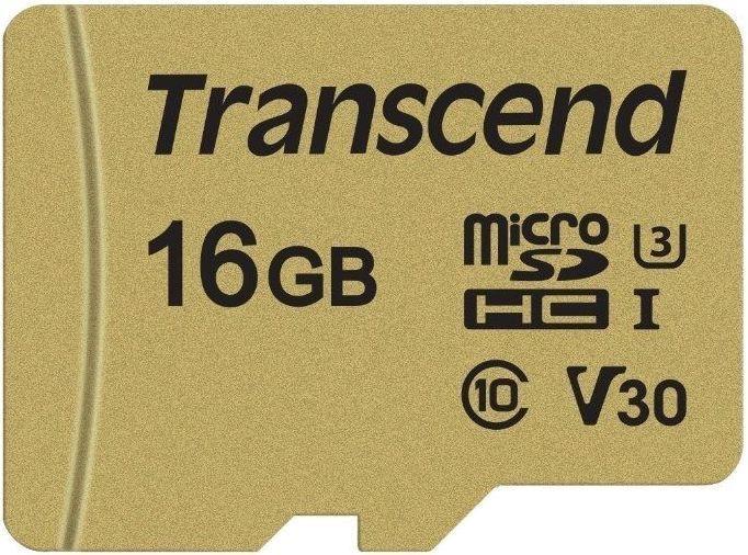 Карта памяти microSDHC UHS-I U3 TRANSCEND 500S 16 ГБ, 95 МБ/с, Class 10, TS16GUSD500S,  1 шт.